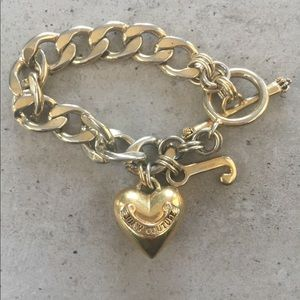 Juicy Couture Puffy Heart Charm Bracelet Goldtone